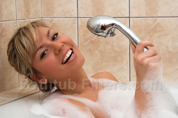 Woman in a Bathtub with a Shower